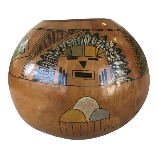 Vintage Hand Painted Gourd Hopi Sunface For Sale