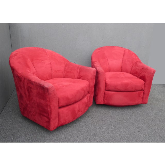 Milo Baughman 1970s Mid Century Modern Milo Baughman Style Red Swivel Chairs - a Pair For Sale - Image 4 of 13