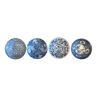Japanese Small Blue & White Bowls - Set of 4 For Sale