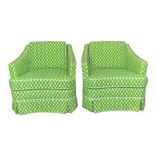 Hollywood Regency Mod Print Swivel Chairs - a Pair For Sale