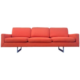 Bright Orange Architectural Mid-Century Modern Sofa For Sale