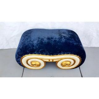 1970's Karl Springer Style Crushed Blue Velvet Bench Preview