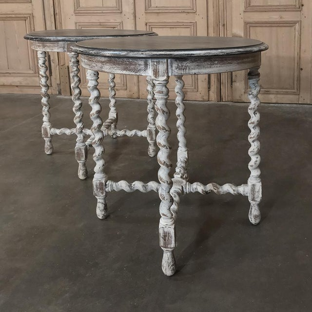 Pair Antique Barley Twist Painted End Tables For Sale - Image 12 of 13