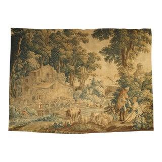 Circa 1760 Silk and Wool Aubusson Pastoral Watermill Tapestry