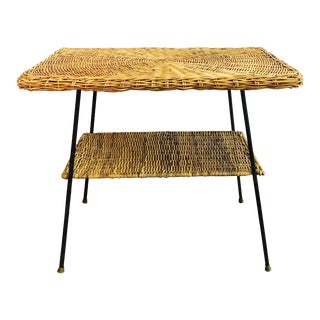 Mid Century Rectangular Wicker Side Table on Iron Frame For Sale