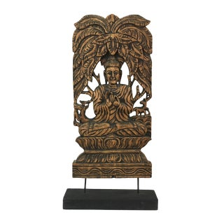 Chinese Carved Wood Buddha Panel For Sale