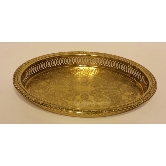 Solid Brass Pierced Gallery Oval Tray - Image 2 of 6