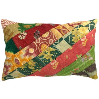 Red and Green Patchwork Kantha Lumbar Pillow For Sale