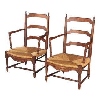 1940s Vintage Louis XVI Style Provencal Rush Seat Armchairs - A Pair For Sale