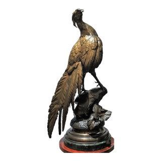 "Antique French 19th Century Bronze Pheasant ""Animalier"" by F. Pautrot (Ferdinand Pautrot)."