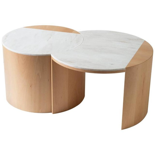 White Contemporary Gibbous Coffee Table in European Beech With Witch Hazel Corian. For Sale - Image 8 of 8