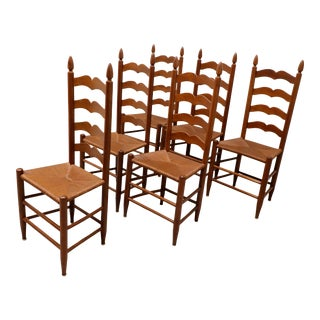 Vintage 1950s Solid Cherry Ladder Back Dining Chairs With Rush Seats - Set of 6 For Sale