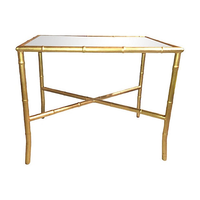 Gold Gilt Faux Bamboo and Mirror Side Table - Image 5 of 7