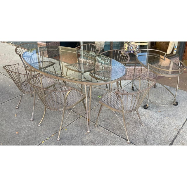 Brown 1950s Vintage Woodard Pinecrest Dining Table and Chairs With Bar Cart - 8 Pieces For Sale - Image 8 of 8