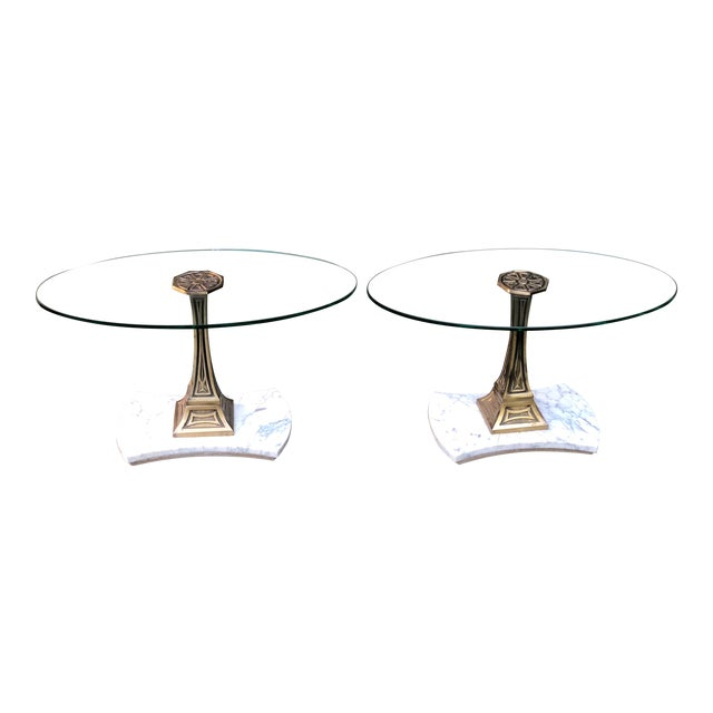 Mid Century Glass Top Marble Base Hollywood Regency Italianate End Tables - a Pair For Sale