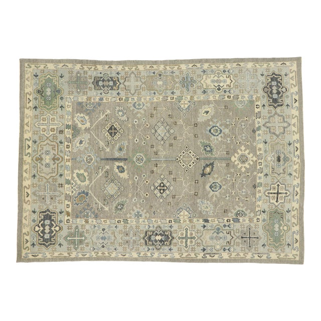 Contemporary Turkish Oushak Rug With Modern Style - 08'11 X 12'07 For Sale