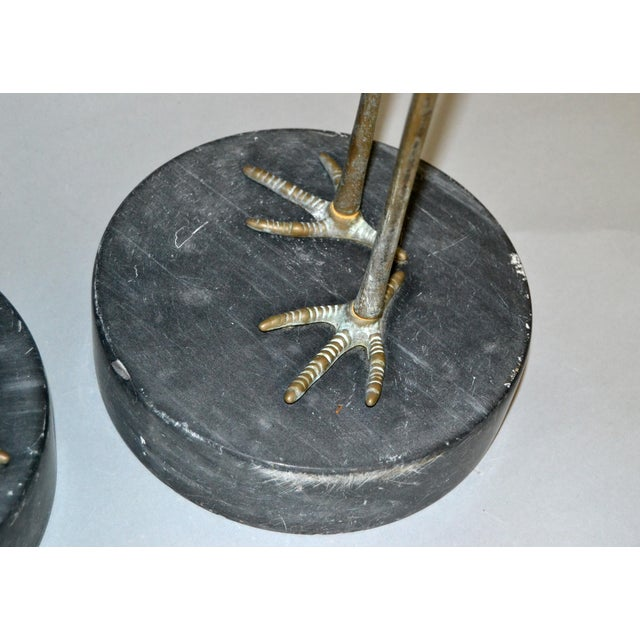 Hollywood Regency Asian Style Bronze Crane Sculptures Black Marble Base, a Pair For Sale - Image 10 of 13