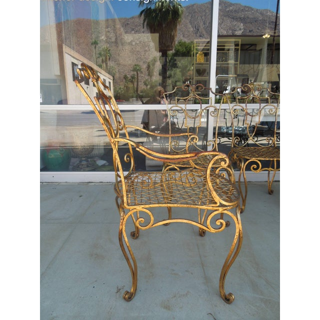 French Moderne Gold Gilt Iron Chairs by Jean-Charles Moreux - Set of 4 For Sale - Image 9 of 10