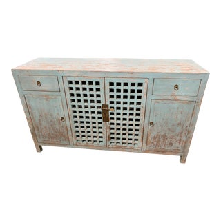 Distressed Blue Lattice Sideboard For Sale