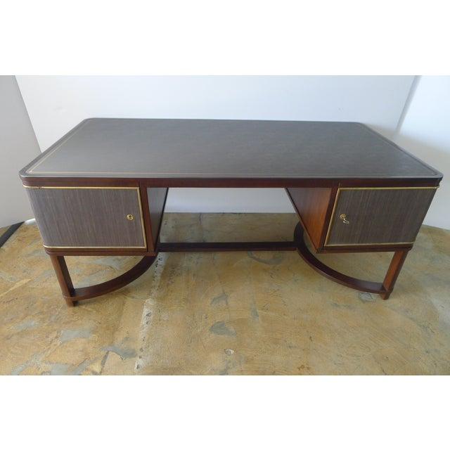 Restored Expansive Modern French Art Deco Executive Desk - Image 2 of 13
