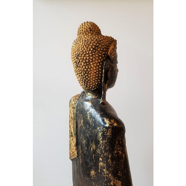 Black Mid 20th Century Hand Painted Carved Wood Standing Buddha For Sale - Image 8 of 13
