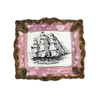"Antique Sunderland Lustre ""Flying Cloud Boston"" Ship Plaque For Sale"