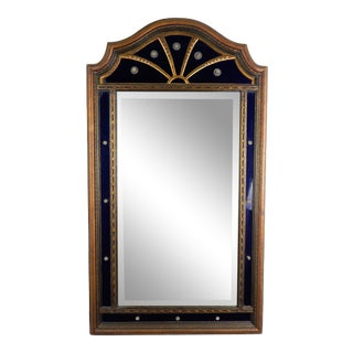 Antique English Cobalt Blue Glass Mirror For Sale