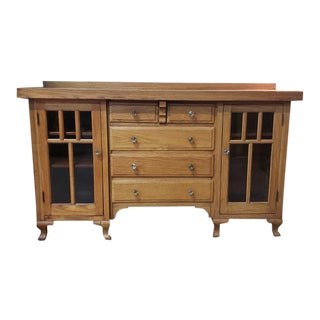 American Arts & Crafts Oak & Glass Built in Console Cabinet C.1910 For Sale