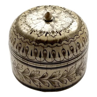 Vintage Hand-Painted Bone Inlay Dome Box