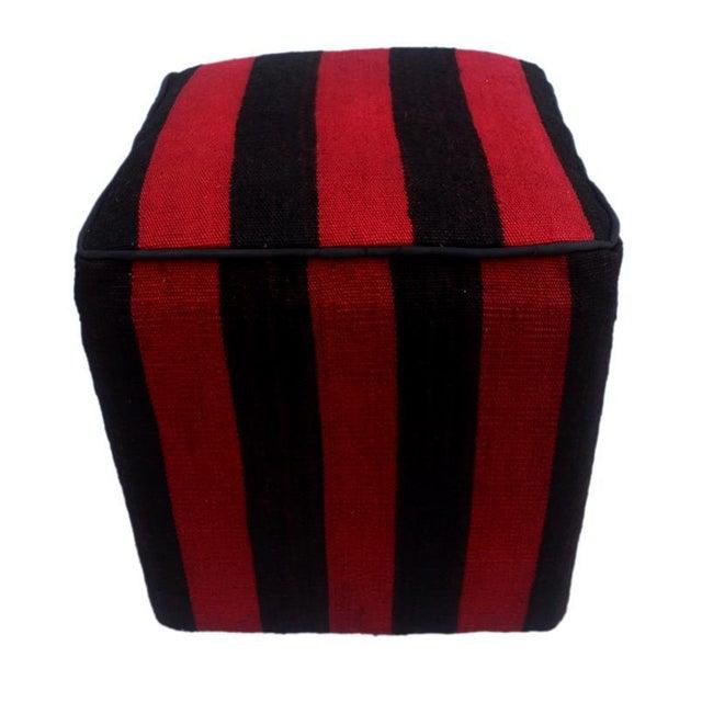 Asian Arshs Domoniqu Red/Black Kilim Upholstered Handmade Ottoman For Sale - Image 3 of 8