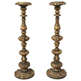 19th C. Carved Italian Candlesticks - A Pair
