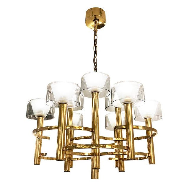 Gold Gaetano Sciolari Brass Ceiling Light For Sale - Image 8 of 9