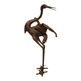 Bronze Large Standing Crane Garden Fountain Statue For Sale