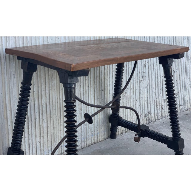 Late 19th Century 19th Century Baroque Spanish Side Table With Marquetry Top & Turned Legs For Sale - Image 5 of 13