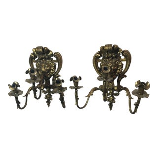 Antique French Doré Bronze Sconces - a Pair