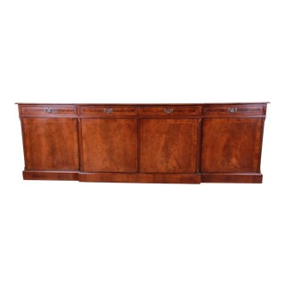 English Banded Inlaid Flame Mahogany Sideboard / Bar Cabinet by Norfolk Manor For Sale