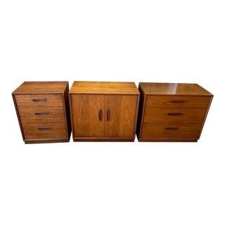 Henredon 'Circa 60' Walnut Cabinets - Set of 3 For Sale
