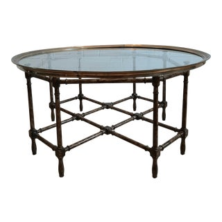 1960s Baker Faux Bamboo Cocktail Table For Sale