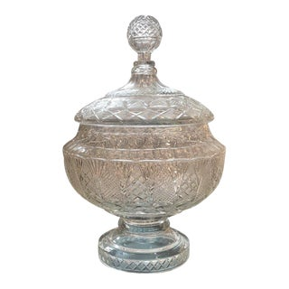 19th Century Antique Austrian Cut Glass Punch Bowl With Lid For Sale