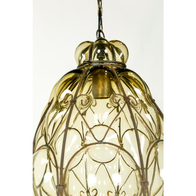 Italian Iron Wire & Blown Glass Pendant For Sale - Image 5 of 13