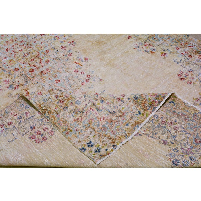 """Textile Vintage Persian Kerman Hand Knotted Organic Wool Fine Weave Rug,7'8""""x14'1"""" For Sale - Image 7 of 8"""