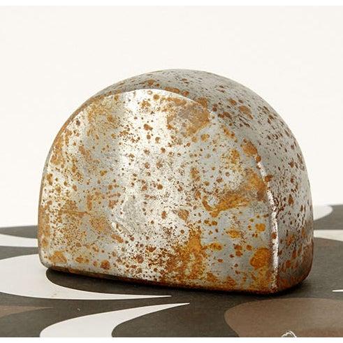 "paperweight oxidized steel 2 ⅜"" h x 3 ⅛"" w x 1 ⅜"" d"