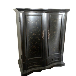 Hooker Furniture Seven Seas Black Gold Entertainment Cabinet For Sale
