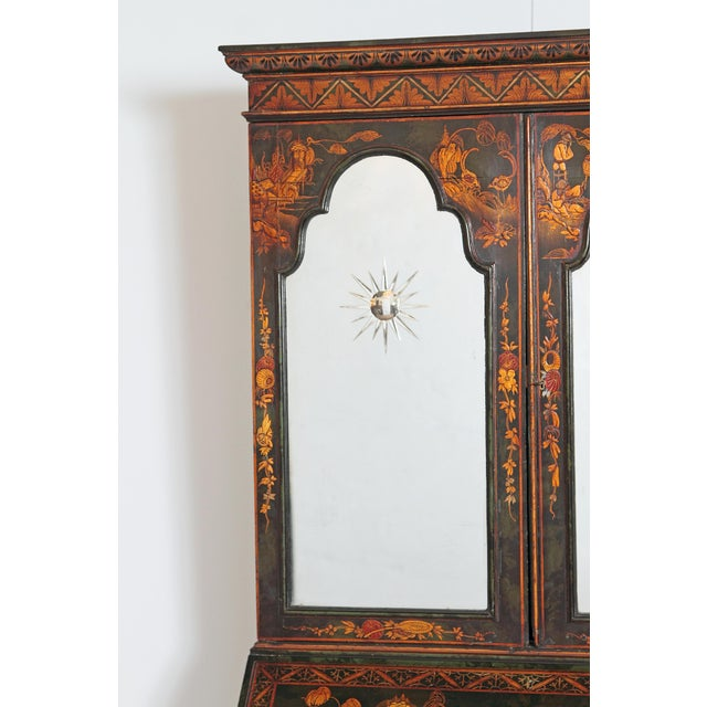 English Chinoiserie Secretary With Mirrored Doors For Sale - Image 9 of 13