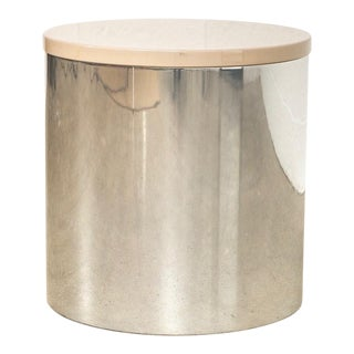 Mid Century Paul Mayen for Habitat Chrome & Lacquered Top Drum Table For Sale