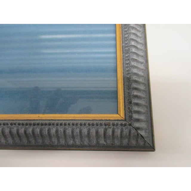 Vintage Print Framed in Wedgewood Blue Color Wood Frame With Glass Cover For Sale - Image 9 of 10