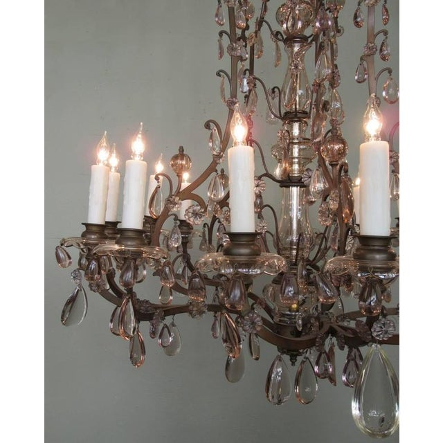 Amethyst Early 20th C Italian Patinated Bronze, Crystal and Amethyst Chandelier For Sale - Image 7 of 9