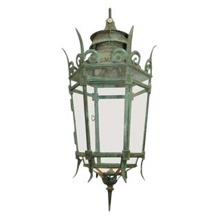 Mid-19th Century English Bronze and Glass Hexagonal Hanging Lantern For Sale