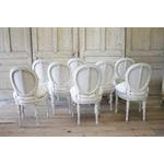 20th Century Painted and Upholstered Louis XVI Dining Chairs - Set of 8 - Image 4 of 5