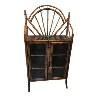 Victorian Bamboo Glass Front Cabinet For Sale